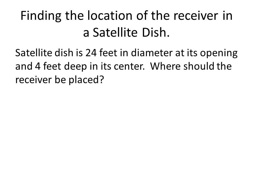 Finding the location of the receiver in a Satellite Dish.