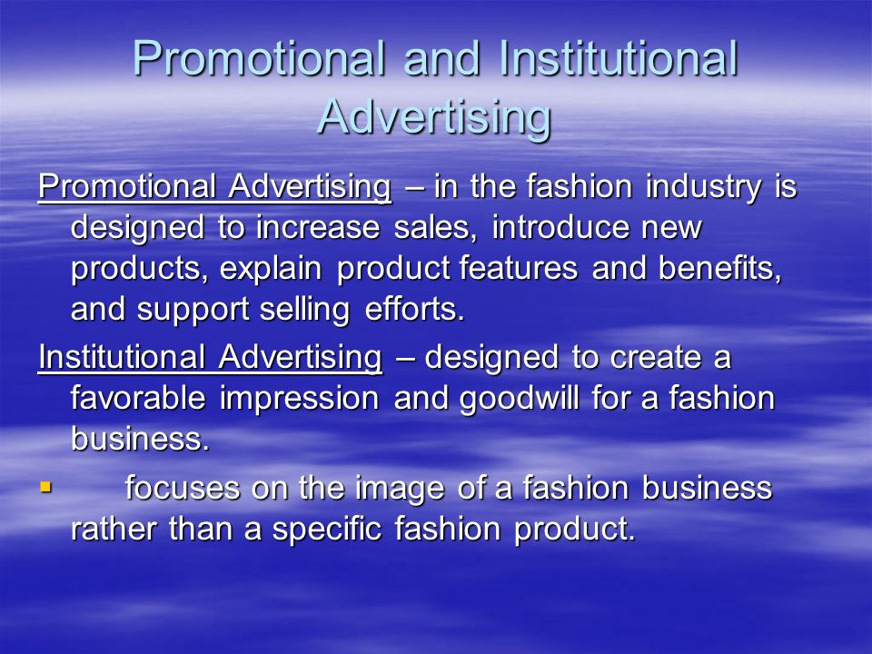 Promotional and Institutional Advertising
