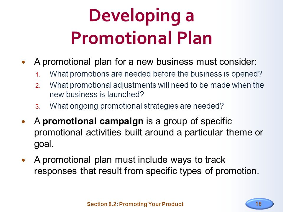 Developing a Promotional Plan