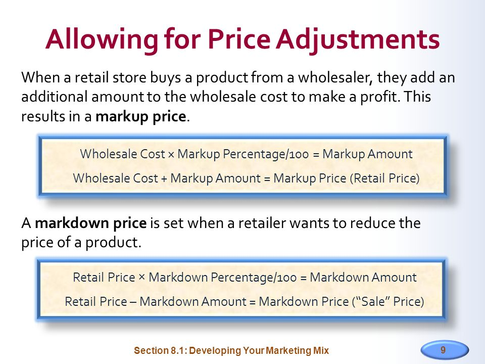 Allowing for Price Adjustments