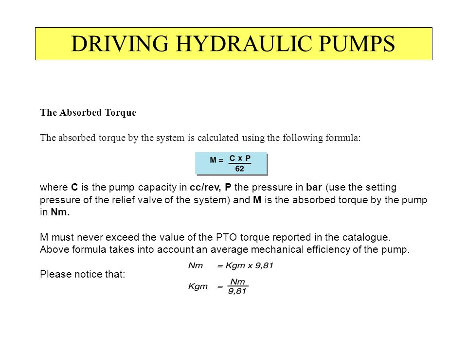 DRIVING HYDRAULIC PUMPS