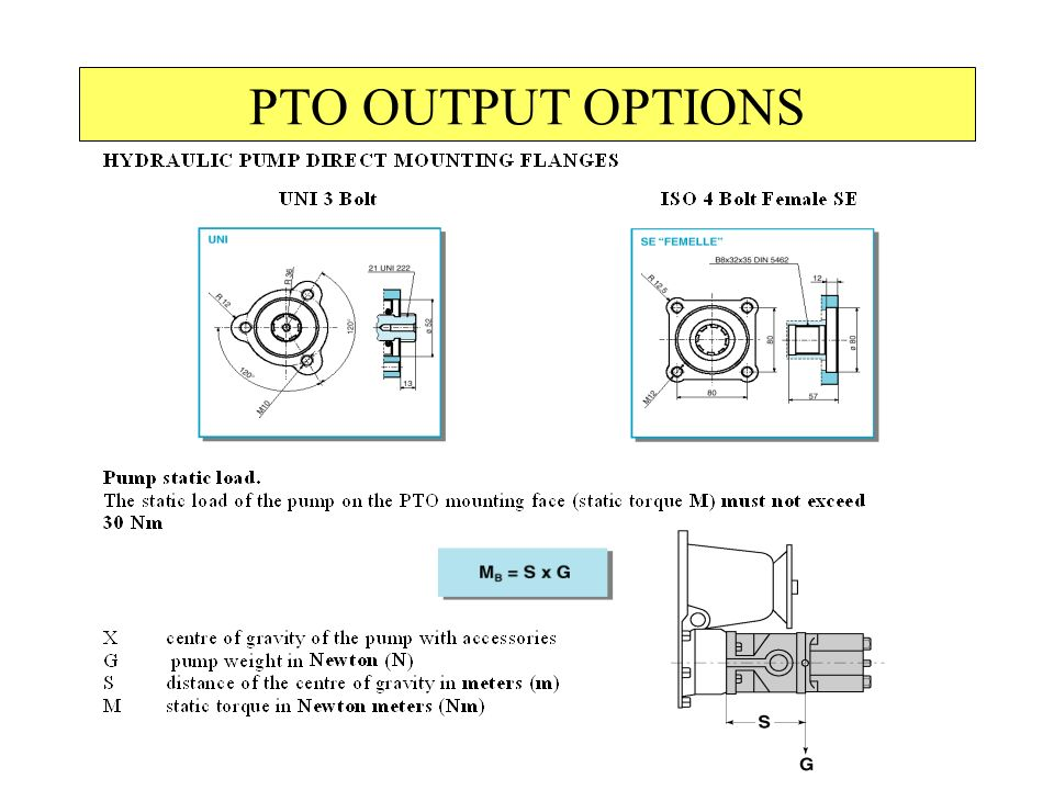 PTO OUTPUT OPTIONS