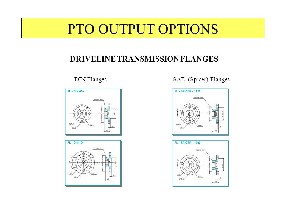 PTO OUTPUT OPTIONS DRIVELINE TRANSMISSION FLANGES