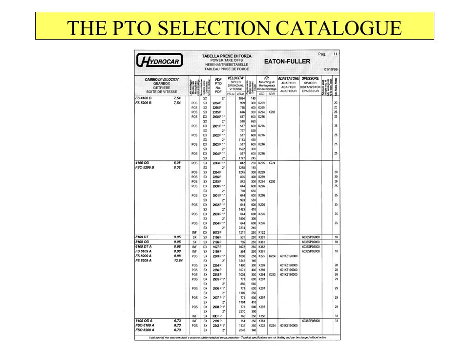 THE PTO SELECTION CATALOGUE