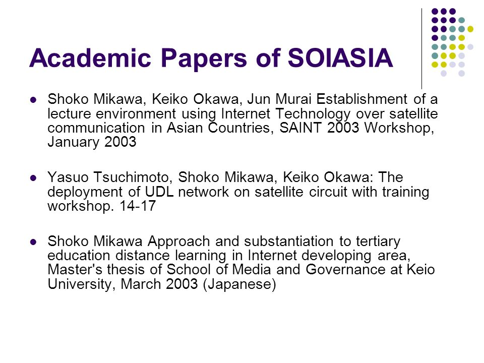 Academic Papers of SOIASIA