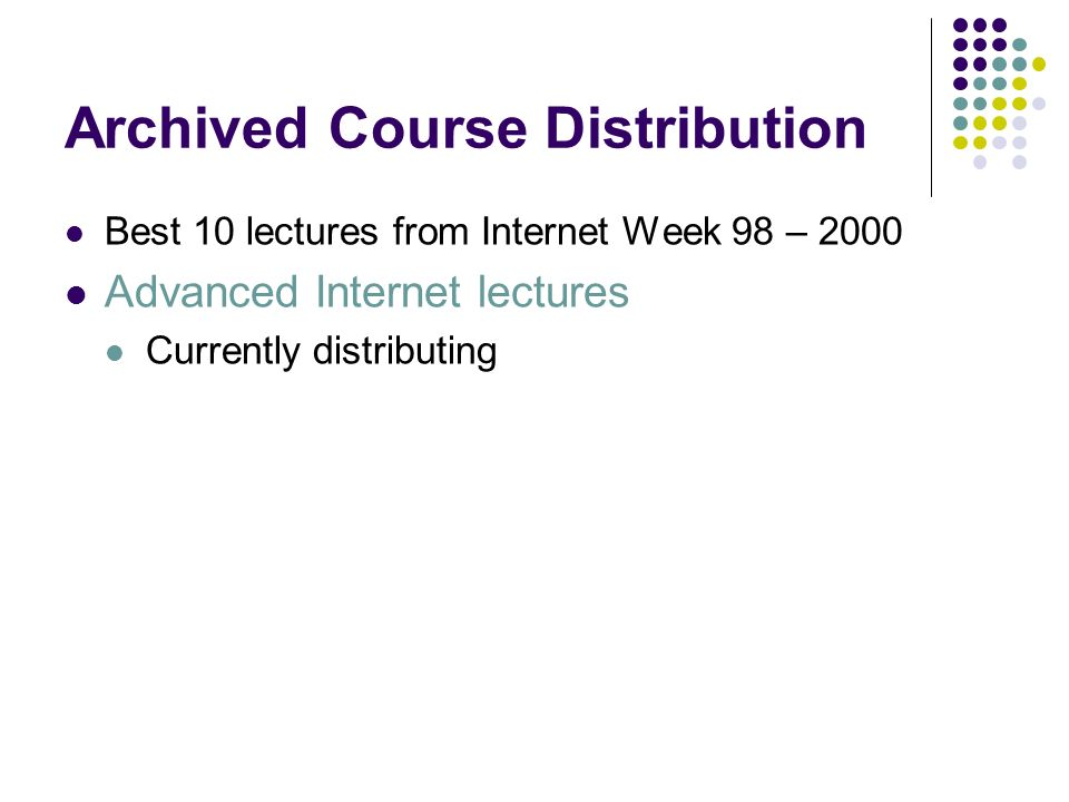 Archived Course Distribution