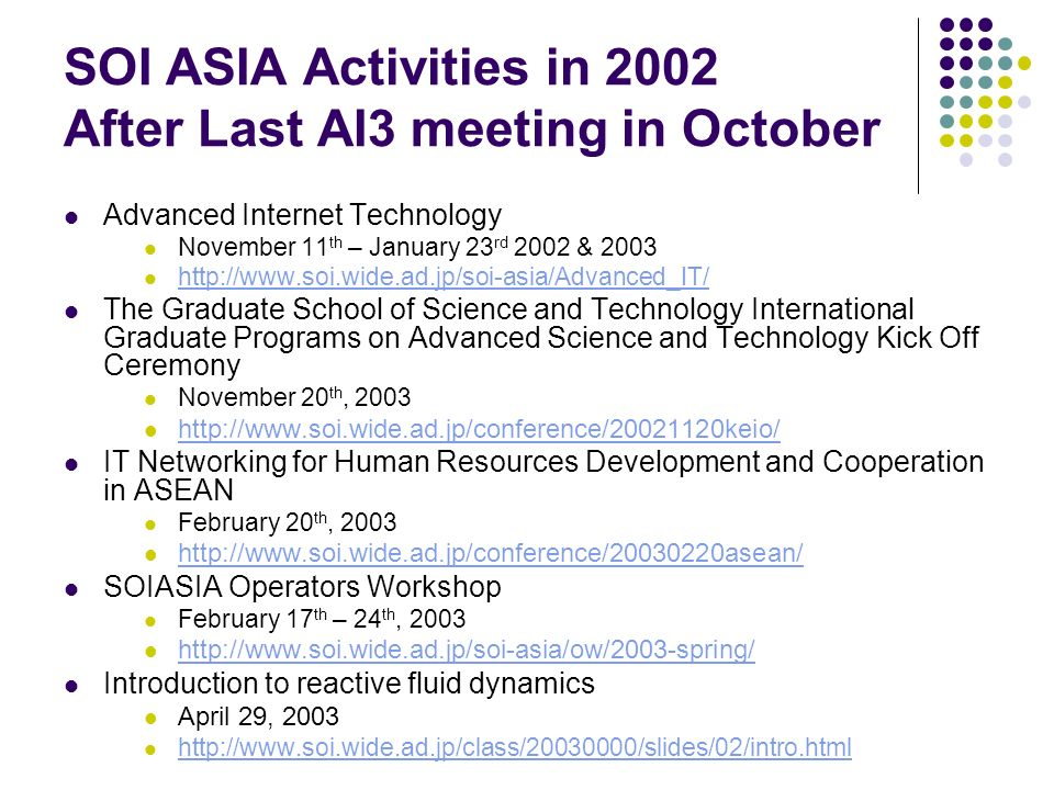 SOI ASIA Activities in 2002 After Last AI3 meeting in October