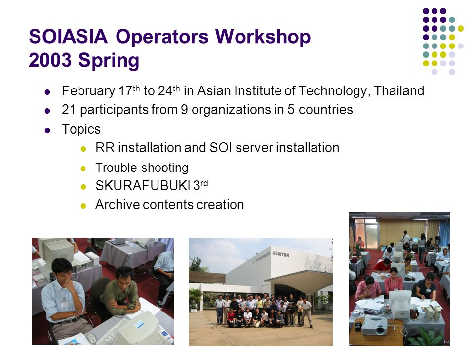SOIASIA Operators Workshop 2003 Spring