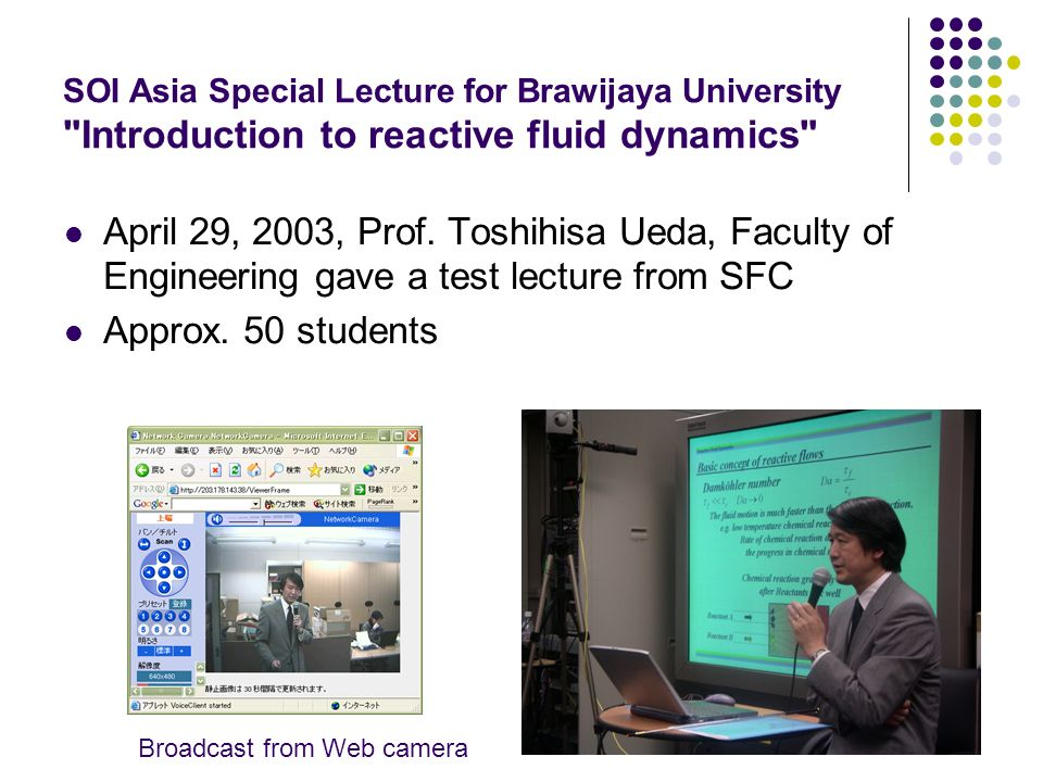 SOI Asia Special Lecture for Brawijaya University Introduction to reactive fluid dynamics