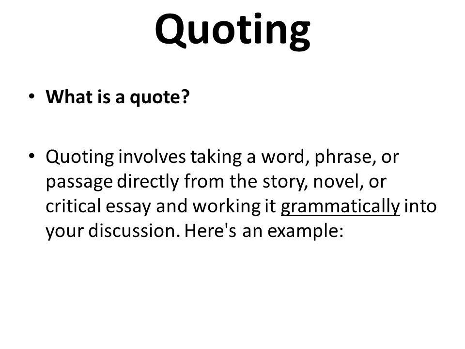 quoting text in an essay