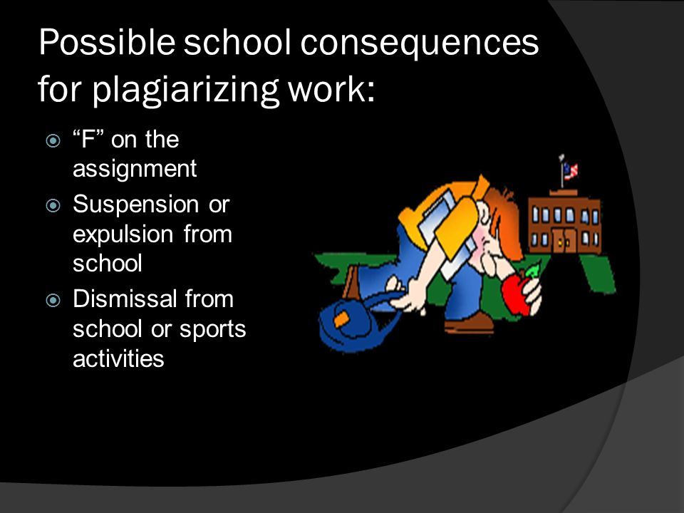 Possible school consequences for plagiarizing work: