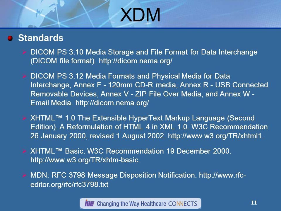 XDM Standards. DICOM PS 3.10 Media Storage and File Format for Data Interchange (DICOM file format).