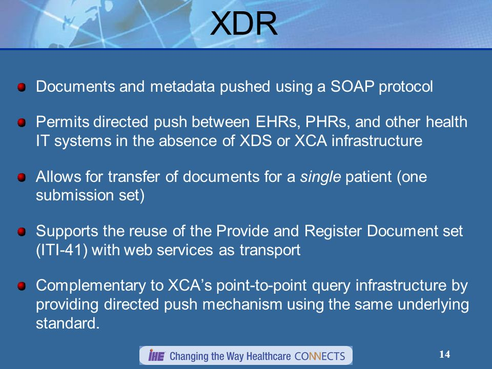 XDR Documents and metadata pushed using a SOAP protocol