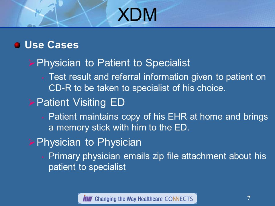 XDM Use Cases Physician to Patient to Specialist Patient Visiting ED