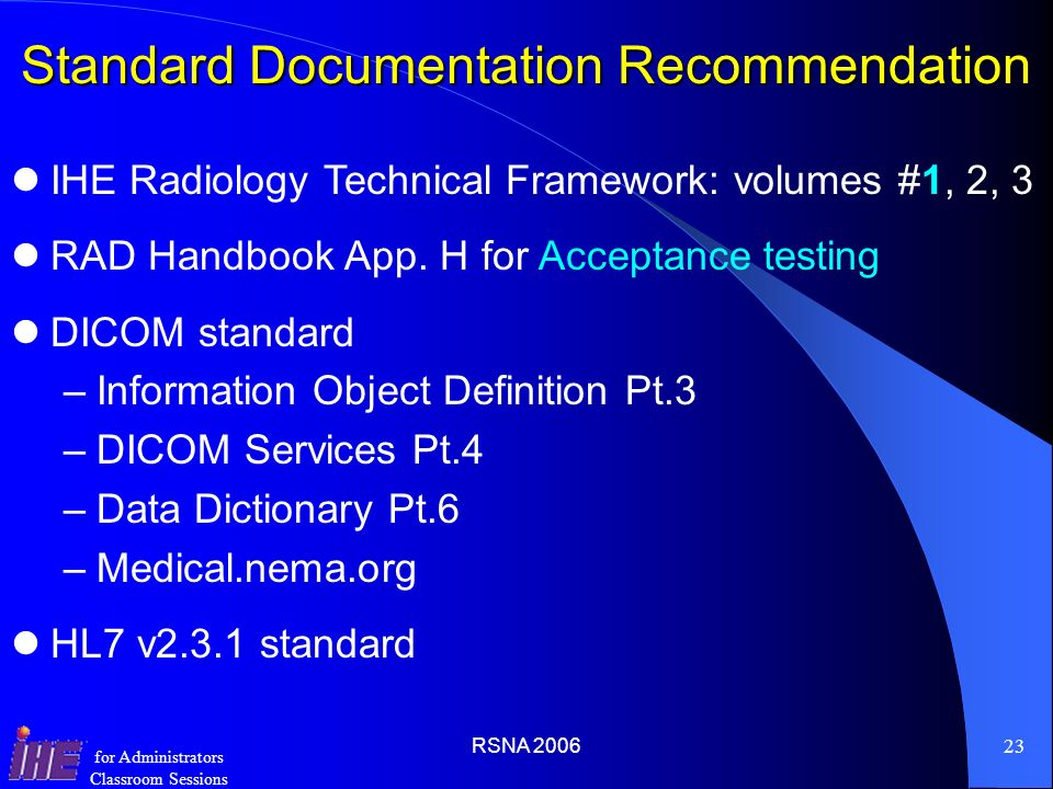 Standard Documentation Recommendation