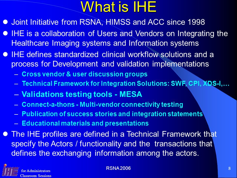 What is IHE Joint Initiative from RSNA, HIMSS and ACC since 1998