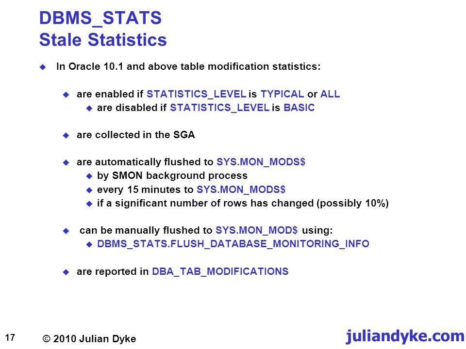 Optimizer Statistics Julian Dyke Independent Consultant Web