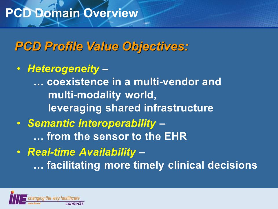 PCD Profile Value Objectives: