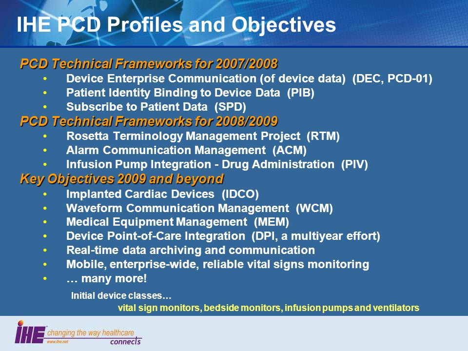 IHE PCD Profiles and Objectives