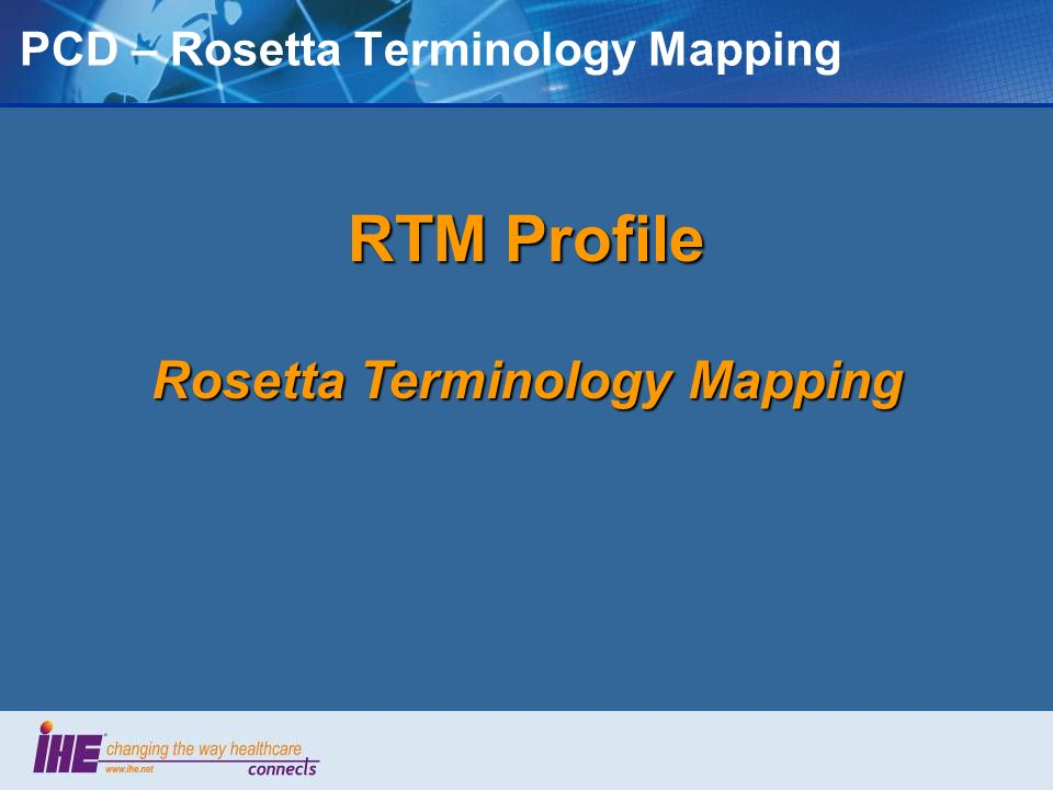 PCD – Rosetta Terminology Mapping
