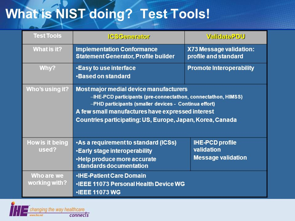 What is NIST doing Test Tools!