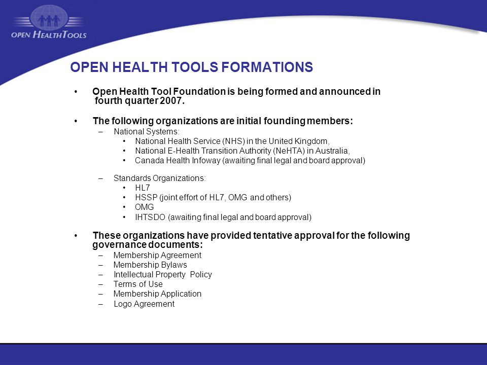 OPEN HEALTH TOOLS FORMATIONS