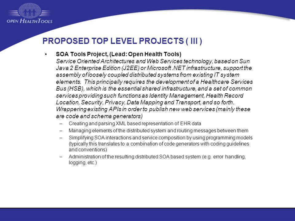 PROPOSED TOP LEVEL PROJECTS ( III )