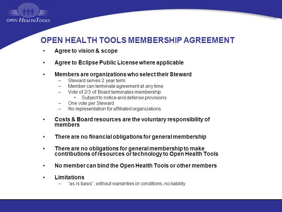 OPEN HEALTH TOOLS MEMBERSHIP AGREEMENT