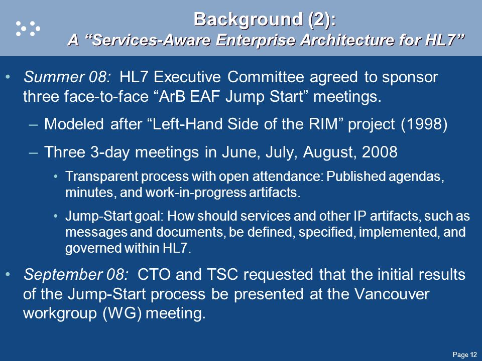 Background (2): A Services-Aware Enterprise Architecture for HL7