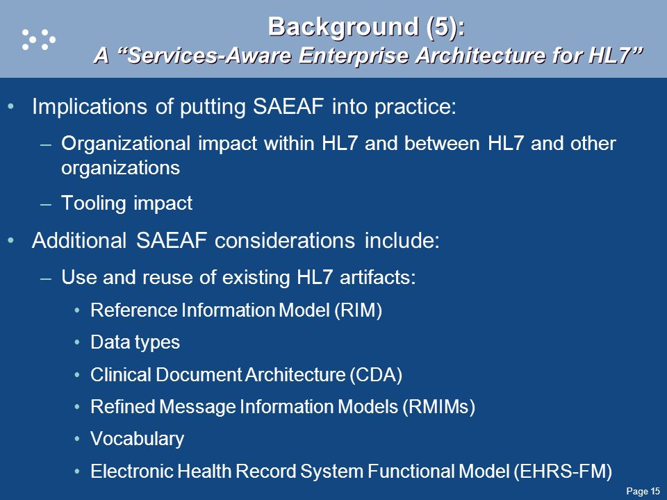 Background (5): A Services-Aware Enterprise Architecture for HL7