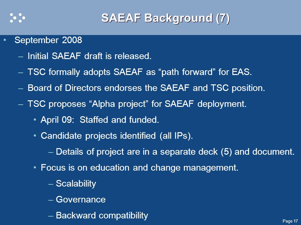 SAEAF Background (7) September 2008 Initial SAEAF draft is released.