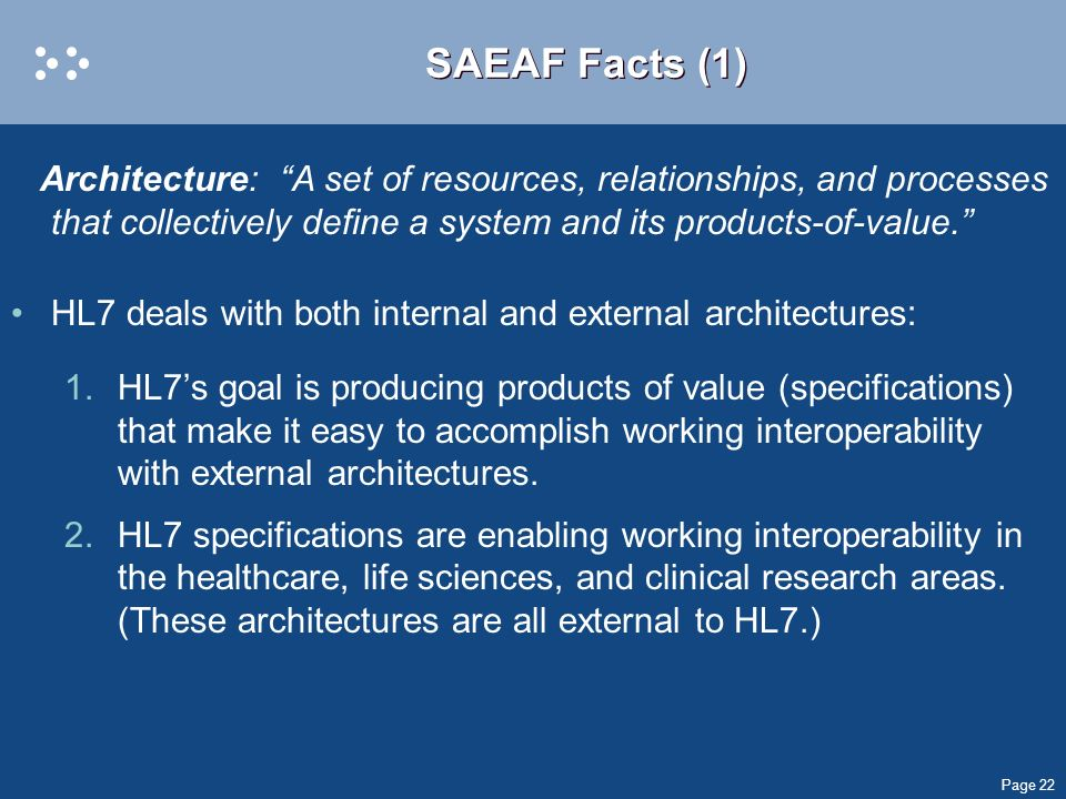 SAEAF Facts (1) Architecture: A set of resources, relationships, and processes that collectively define a system and its products-of-value.