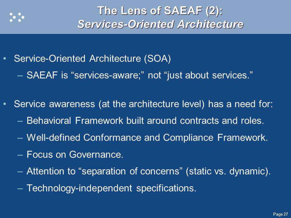 The Lens of SAEAF (2): Services-Oriented Architecture