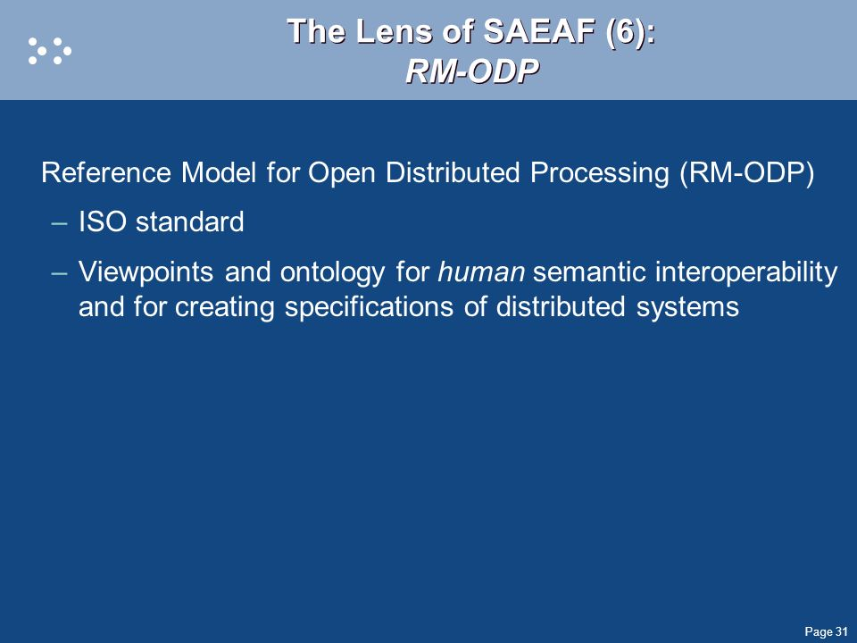 The Lens of SAEAF (6): RM-ODP