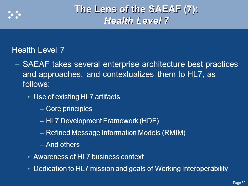The Lens of the SAEAF (7): Health Level 7