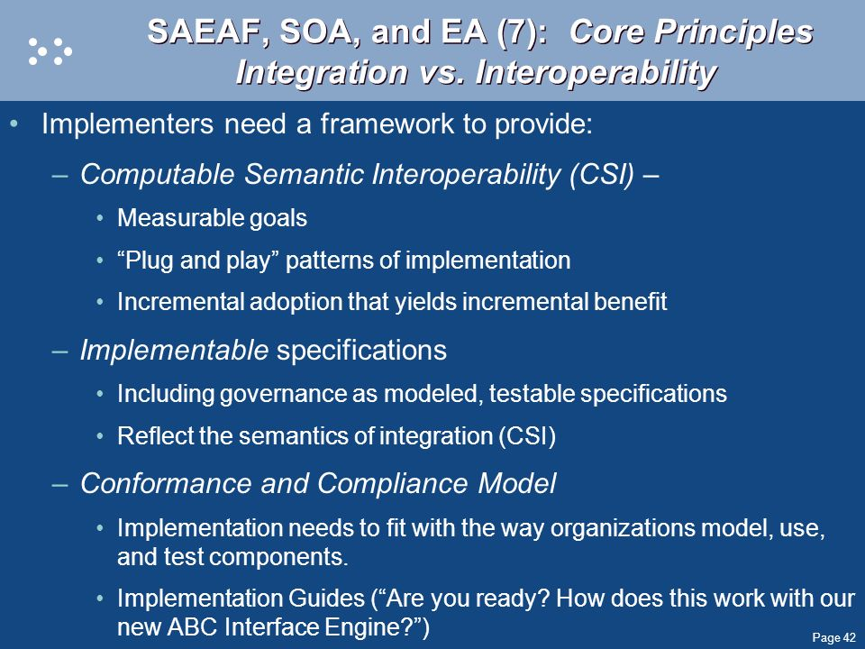 SAEAF, SOA, and EA (7): Core Principles Integration vs