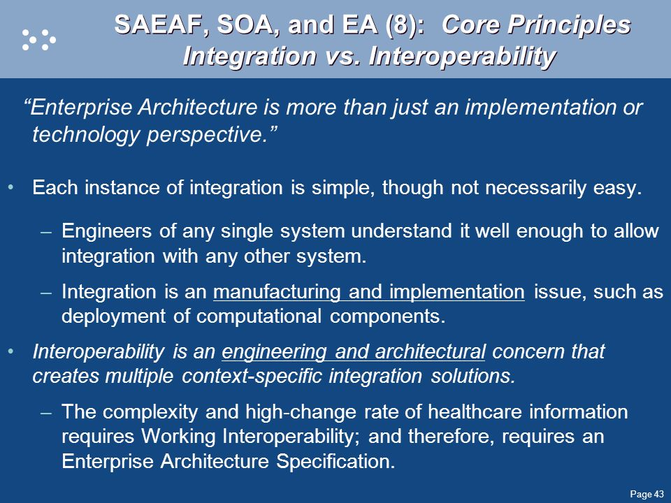 SAEAF, SOA, and EA (8): Core Principles Integration vs
