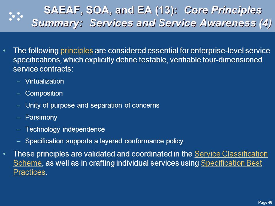 SAEAF, SOA, and EA (13): Core Principles Summary: Services and Service Awareness (4)