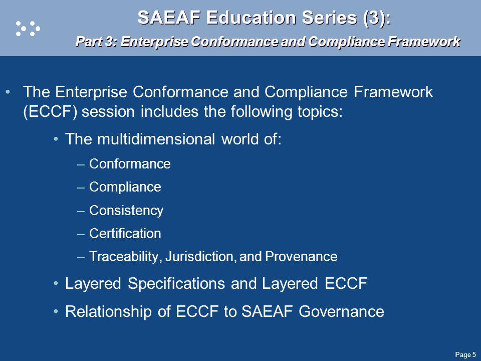 SAEAF Education Series (3): Part 3: Enterprise Conformance and Compliance Framework