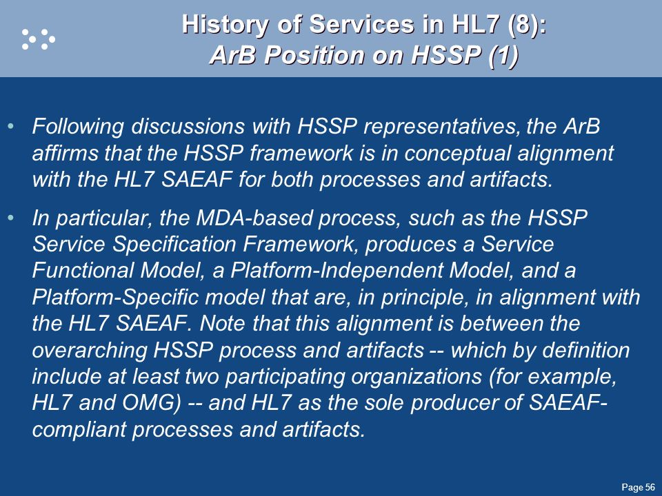 History of Services in HL7 (8): ArB Position on HSSP (1)