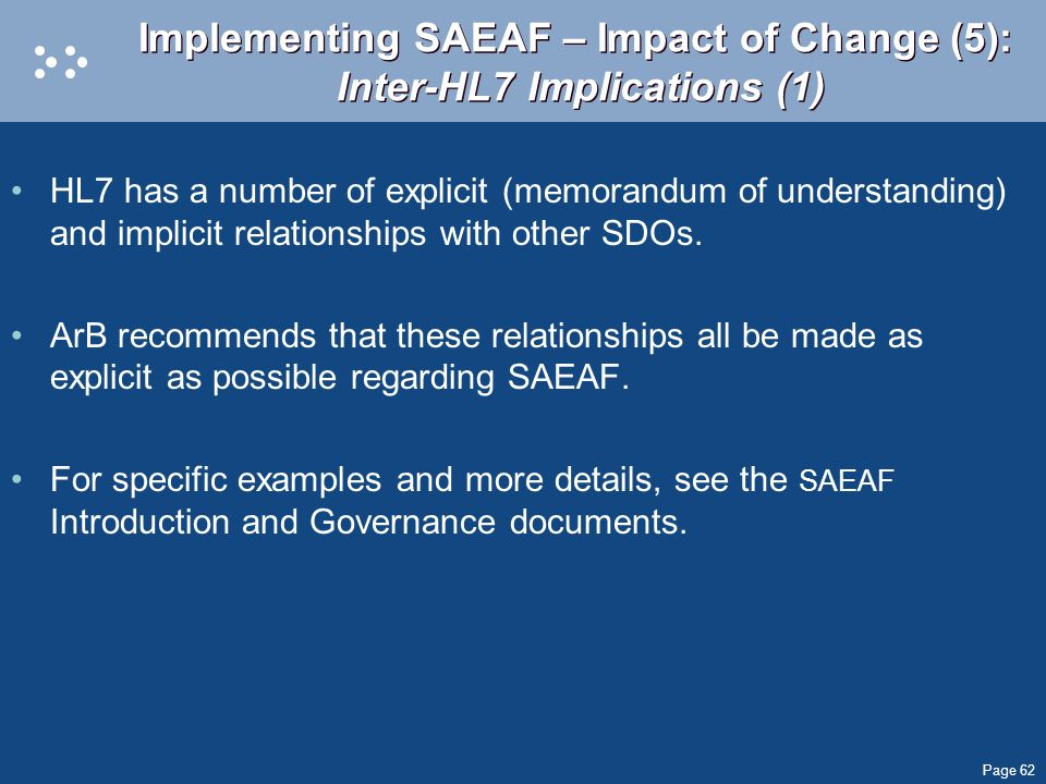 Implementing SAEAF – Impact of Change (5): Inter-HL7 Implications (1)