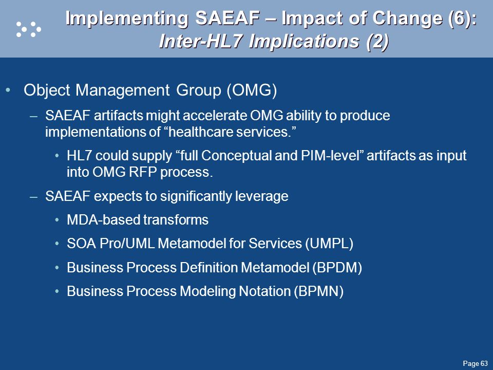 Implementing SAEAF – Impact of Change (6): Inter-HL7 Implications (2)
