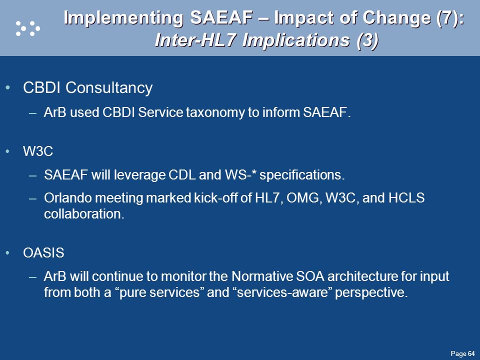 Implementing SAEAF – Impact of Change (7): Inter-HL7 Implications (3)