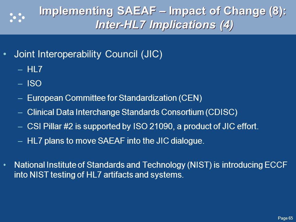 Implementing SAEAF – Impact of Change (8): Inter-HL7 Implications (4)