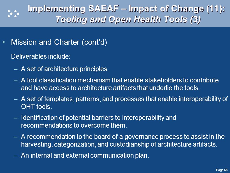 Implementing SAEAF – Impact of Change (11): Tooling and Open Health Tools (3)
