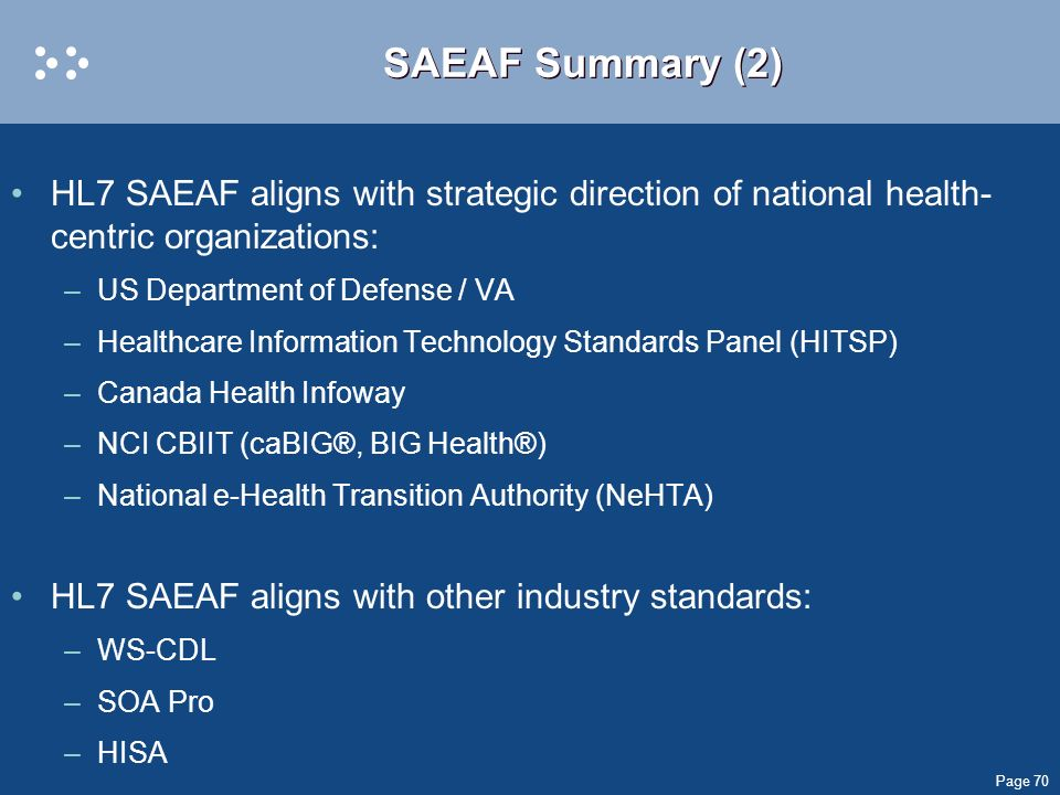 SAEAF Summary (2) HL7 SAEAF aligns with strategic direction of national health-centric organizations: