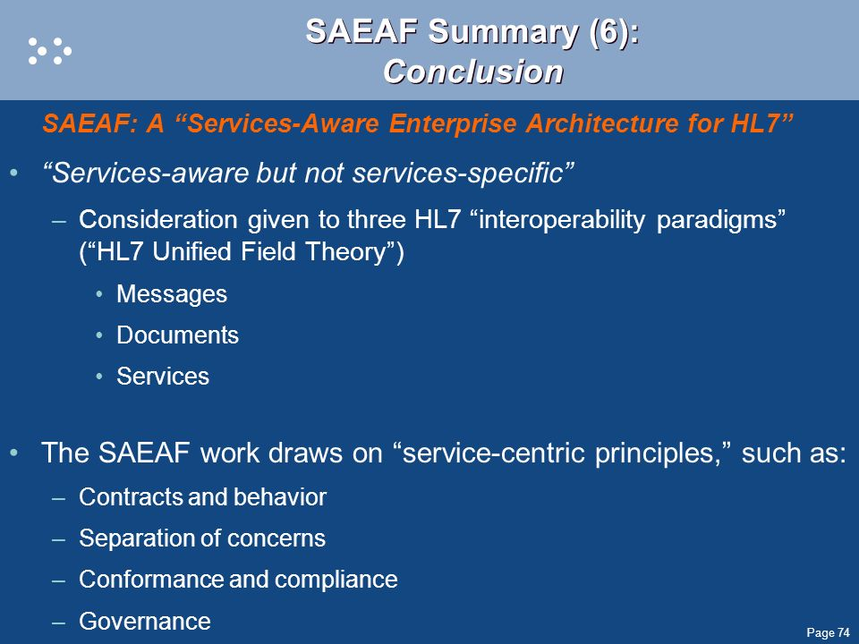 SAEAF Summary (6): Conclusion