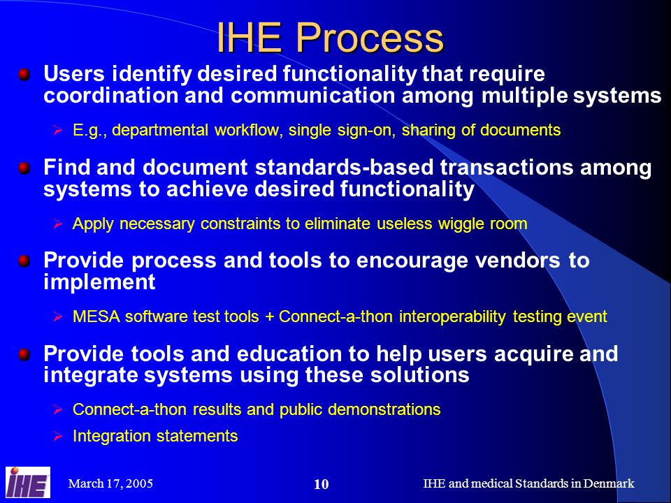 IHE and medical Standards in Denmark
