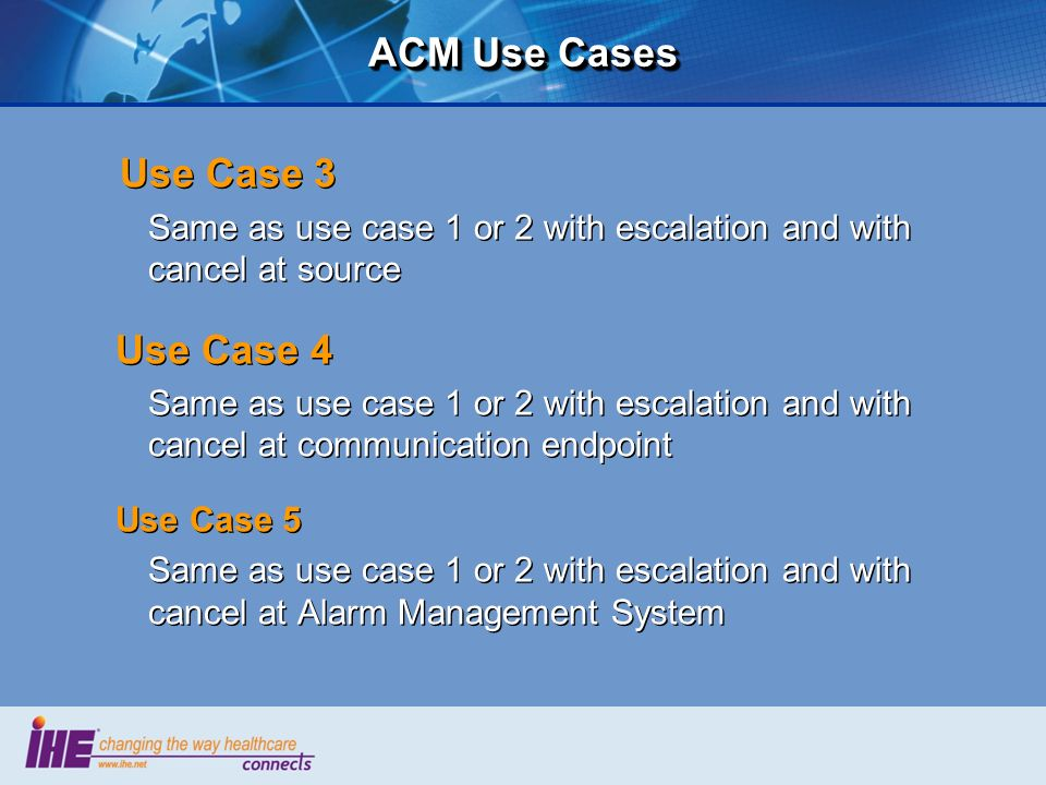 ACM Use Cases Use Case 3 Use Case 4