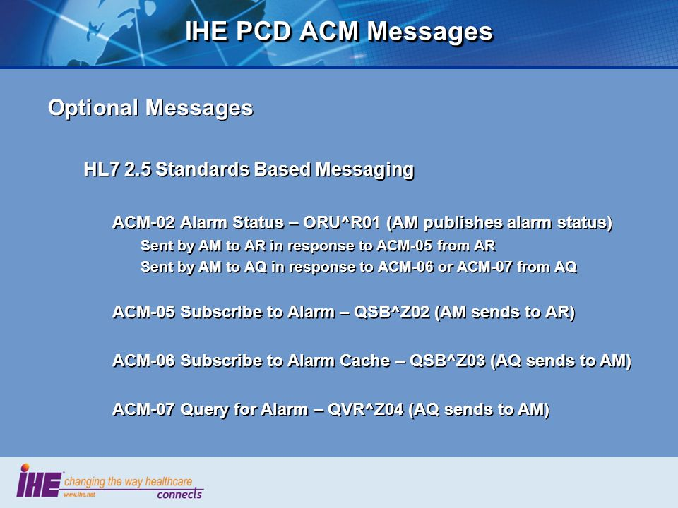 IHE PCD ACM Messages Optional Messages